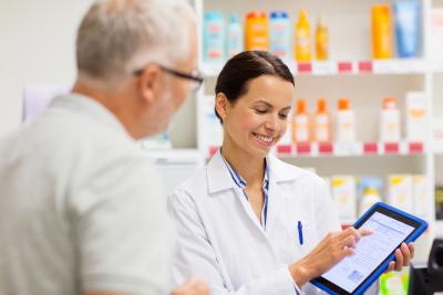 pharmacist giving medication
